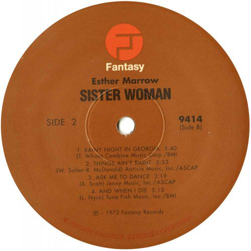 Esther Marrow 'Sister Woman' LP label