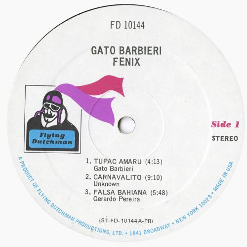 Gato Barbieri 'Fenix' LP label