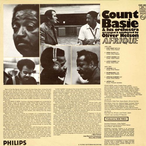Count Basie 'Afrique' LP back cover