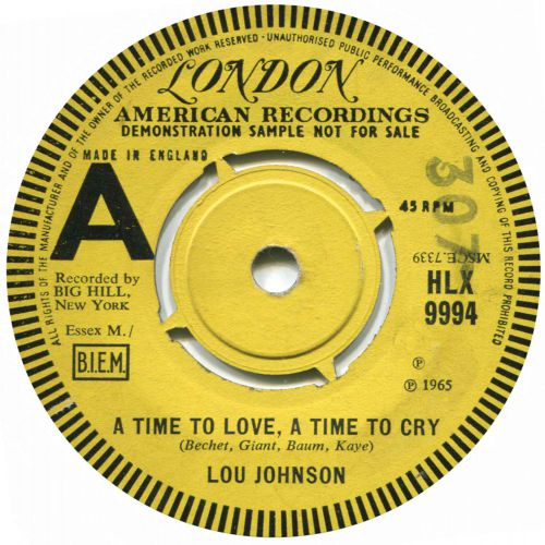 Lou Johnson 'A Time To Love, A Time To Cry'