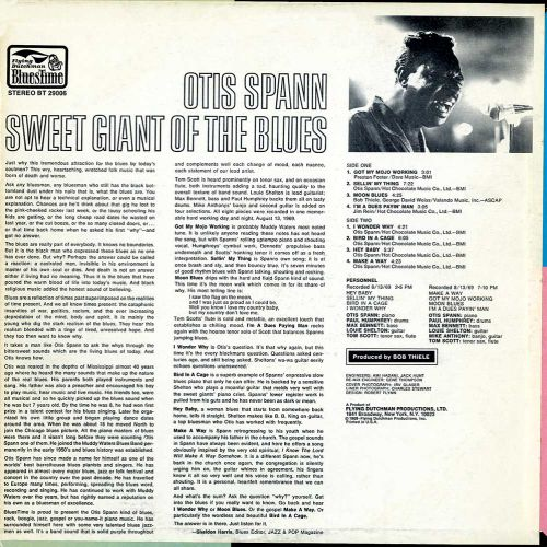 'Sweet Giant Of The Blues' LP Back