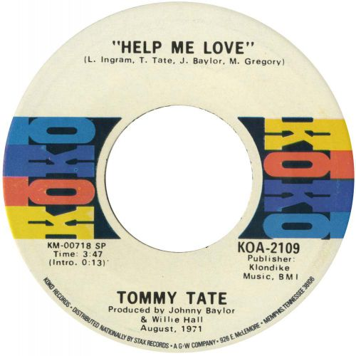 Tommy Tate 'Help Me Love' courtesy of Tony Rounce