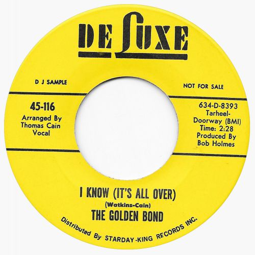 The Golden Bond 'I Know It's All Over' 45