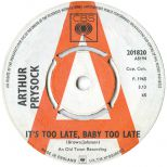 Arthur Prysock 't's Too Late, Baby Too Late'